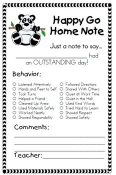 Cute Happy Go Home Note! BEHAVIOR MANAGEMENT SUPPLEMENT PACKET FOR CLIP CHART - TeachersPayTeachers.com