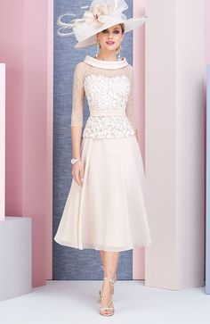 Veni infantino 991374 colour almond ivory price a tea length chiffon dress with a detailed flower appliqued bodice illusion ¾ length sleeves and elegant chiffon bateau neckline the wedding shop colchester call 01206 767359 buy online today 7 day money Tea Length Dresses, Women's Dresses, Bridal Dresses, Evening Dresses, Fashion Dresses, Bridesmaid Dresses, Dresses With Sleeves, Formal Dresses, Party Dresses