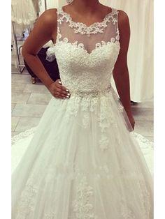 SLEEVELESS SWEEP TRAIN FULL LACE WEDDING DRESS 2016