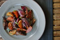 Roasted beets and red onions