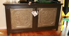 tin ceiling tiles on cabinet doors- I want to do this to my kitchen cabinets!