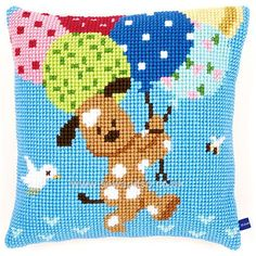 Dog with Balloons Cushion Front Chunky Cross Stitch Kit