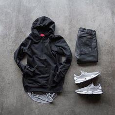 quarter zip hoodie John Elliott Co tank Nudie Jeans Co skinny lin jeans Nike sock dart - Men Running Shirts - Ideas of Men Running Shirts Komplette Outfits, Dope Outfits, Casual Outfits, Men Casual, Fashion Outfits, Running Wear, Running Shirts, Woman Running, Mens Running