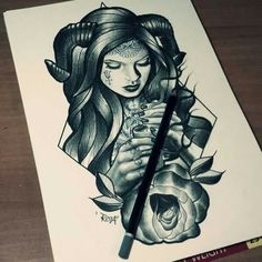 Devil girl gothic tattoo