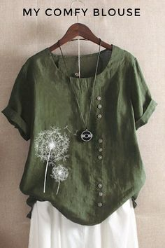 Korean Fashion Tips Vintage Print Flower Short Sleeve Button T-Shirt - modvivi.Korean Fashion Tips Vintage Print Flower Short Sleeve Button T-Shirt - modvivi Tops Vintage, Vintage Prints, Half Sleeves, Types Of Sleeves, Flower Shorts, Shirt Bluse, Summer Blouses, Casual T Shirts, Short Sleeve Blouse