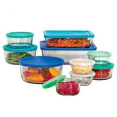 Anchor 20 Piece Glass Storage Set with Assorted Color Lids