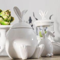 Beautiful hand painted rabbit candy jar Cartoon ceramic storage jar Nice home…