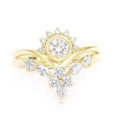 Diamond Crown Rings Bridal Set Art-Deco Engagement Ring