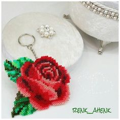 Rose flower keyring hama mini beads by renk__ahenk