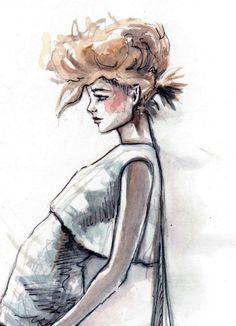 Mohawk Fashion Illustration Print by paperfashionshop on Etsy,