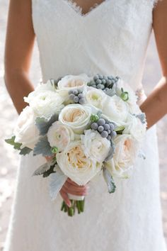 White grey and blush bouquet