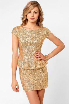 Lulus Champagne Dame Brilliant Gold Sequin Dress