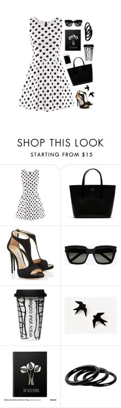 """Black & White"" by onemonday ❤ liked on Polyvore featuring Lacoste, Yves Saint Laurent, Dot & Bo, Furla, PolkaDots, prints and blackandwhite"