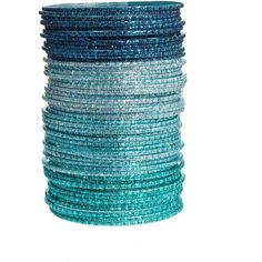 Asos Pack Of 50 Teal And Silver Friendship Bangles ($6.53) ❤ liked on Polyvore featuring jewelry, bracelets, accessories, blue, bangles, blue bangles, teal jewelry, silver hinged bangle, silver bracelet bangle and asos