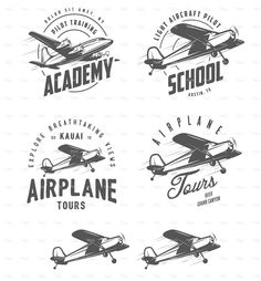 Light airplane related emblems, labels and design elements stock vector art 70937919 - iStock
