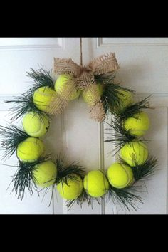 Tennis Ball Wreath - Winter Decor Door or Wall with Burlap Ribbon & Artificial Removable Evergreens - Perfect Gift for a Tennis Player, Pro, Coach, or Club. Spread the JOY of tennis off the court!