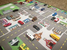 This ROAD MAP has it all! Community buildings, homes, driving lanes, parking spots, airport with runway and helipad.. and all on a heavy duty, yet foldable and portable, quality mat! This ROAD MAP town is fully equipped with a Grocery Store, Movie Theater, Ice Cream Shop, Pet Store, Police Station, Fire Station, Library, Airport (with runway and helipad!), Hair Salon, Post Office, Bakery, and so much more. And no real ROAD MAP would be complete without parking spots, driving lanes, and…