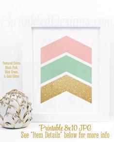 Chevron Arrows Wall Art Print - Blush Pink Mint Green & Gold Glitter Girls Nursery Decor, Printable Abstract Home Decor Gallery Wall Sign
