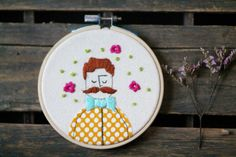Embroidery Hoop Art Illustration of Mustache by ElenaCaron on Etsy