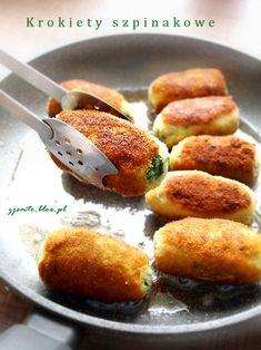 Krokiety szpinakowe Vegetarian Recipes, Cooking Recipes, Healthy Recipes, My Favorite Food, Favorite Recipes, Good Food, Yummy Food, I Foods, Food Inspiration