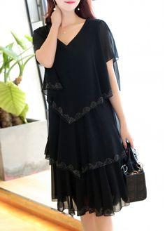 Black V Neck Tiered Chiffon Dress on sale only US$25.90 now, buy cheap Black V Neck Tiered Chiffon Dress at liligal.com
