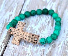 Use code PIN10 for 10% off Rustic Hammered Copper Sideways Cross, Faceted Green Turquoise, Stretch Bracelet by Cheshujewelry