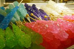 Your Own Rock Candy: How to Grow Sugar Crystals How to Make Homemade Rock Candy or Sugar Crystals: Rock candy is made from crystals of sugar.How to Make Homemade Rock Candy or Sugar Crystals: Rock candy is made from crystals of sugar. Homemade Rock Candy, Make Rock Candy, Homemade Candies, Quick Rock Candy Recipe, Stick Candy, Candy Crystals, Sugar Crystals, Sucre Candi, How To Make Rocks