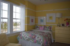 This bright and cheery yellow room would bring a big smile to any little girl lucky enough to live in this bedroom.