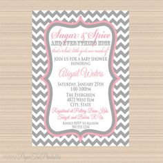 Sugar and Spice Baby Shower Invitation Pink by PaperTreePrintables, $10.00