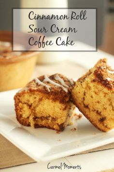 Cinnamon Roll Sour Cream Coffee Cake --  Cinnamon Roll Sour Cream Coffee Cake, a favorite for breakfast or dessert  carmelmoments.com