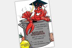 crawfish boil party | Crawfish Boil Graduation Party Invitation | banana, ink.– a creative ... Shrimp Boil Party, Crawfish Party, Identity, Graduation Party Invitations, Graduation Ideas, Japanese Graphic Design, Branding, Grad Parties, Party Items