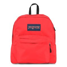 "JanSport Spring Break Backpack TDH7 (Fluorescent Red). Fabric: 600 Denier Polyester. Capacity: 1301 cu in / 21.32 L. Size: 14.5"" h x 13"" w x 6.5"" d. Straight-cut, padded shoulder straps. One large main compartment. Front utility pocket with organizer keeps essentials handy. Web haul loop."