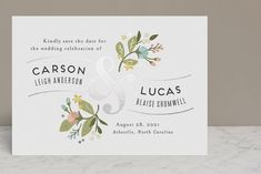 """""""Floral Ampersand"""" - Foil-pressed Save The Date Cards in Sea Breeze by Jennifer Wick."""