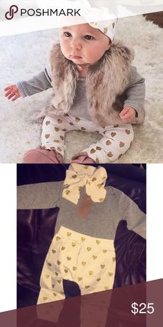 Gold Hearts 🎀 Matching Set New to Little Toes Boutique! Gold Heart matching set! Included : Grey top, Gold heart pants, & Gold heart headband || Fur vest not included!  📌Not Children's Place only listed under brand for exposure 📌 💛 PRE-ORDER!  💛 Please allow 7-10 business days after purchase for your item to arrive 💌📫 💛 No Trades 🙅🏻 💛 Price is firm  💵 Children's Place Matching Sets