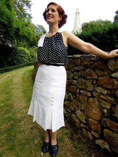 1930s resort ensemble - top made using a Mrs Depew pattern and skirt pattern drafted from scratch