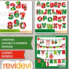 Christmas alphabet and numbers clip art bundle. Super fun Christmas clipart in red green. Complete A to Z alphabet letters, 0 to 9 numbers, and bunting banners too! Buy this bundle, and you'll save a lot! INCLUDED 1. Christmas alphabet 08214 2. Christmas numbers 08215 3.