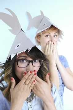Shark Week DIY shark hats. Ay, EVERY week is shark week! Great tutorial by ModCloth.