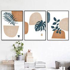 3 Piece Wall Art, Leaf Wall Art, Leaf Art, Wall Art Sets, Canvas Wall Art, Diy Canvas, Scandi Art, Nordic Art, Scandinavian Art