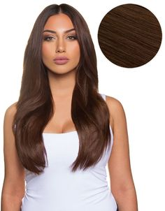"Rich and Indulgent, the Piccolina 18"", 120g Chocolate Brown has beautifully subtle red and golden undertones. These Bellami Hair clip in extensions instantly transform your hair and allow you to feel"