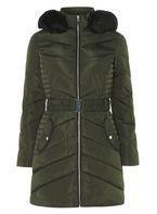 Womens Khaki Belt Padded Jacket- Khaki