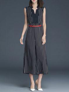 Shop Jumpsuits - Black Sleeveless Linen V Neck Jumpsuit online. Discover unique designers fashion at StyleWe.com.