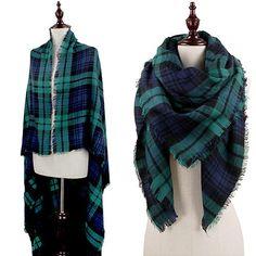 Oversized Plaid Blanket Scarf - Navy/Green