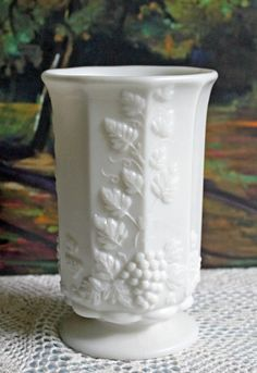 Westmoreland Milk Glass Grapevine Design Vase. Collectible Milk Glass Footed Vase for Home or Wedding Table Decoration. by AnythingDiscovered on Etsy
