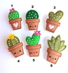 Felt cactus brooches handmade brooch choose your favorite - basteln Felt Crafts Diy, Felt Diy, Cute Crafts, Fabric Crafts, Sewing Crafts, Crafts For Kids, Cactus Craft, Felt Decorations, Felt Patterns