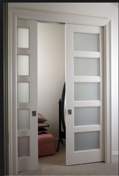 Merveilleux 5 Panel Frosted Glass Pocket Doors