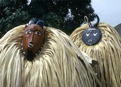 Africa   Kple Kple and Kpan Pre masks dancers during a Goli performance, Kondeyaokro village, Ivory Coast. 1972   ©Eliot Elisofon