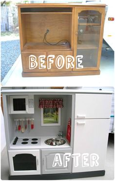 If you have children, especially a daughter like mine, who always wants to help me cook, then you are probably thinking about what kind of play kitchen you might find her ... Old furniture and especially old TV stands are often perfect as long as you have imagination !  You'll find plenty o... #PlayKitchen, #Repurposed