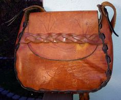 Mexican Hand Tooled Leather Purse Brown Black by taygalchi on Etsy, $38.00