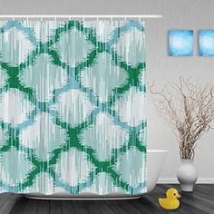 "Faux Moroccan Fabric Pattern Unique Designed Bathroom Showe Curtains Waterproof Mildew Polyester Fabric Green And White 60""x72""Inch - Brought to you by Avarsha.com"