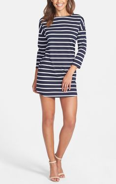 Love this navy and white stripe shift dress!